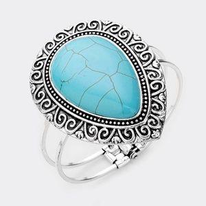 Antique Pattern Metal Turquoise Stone Bracelet